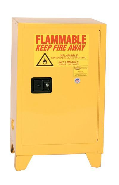 Safety Storage Cabinets Flammable Liquids Space Saver 48 Gal. Yellow One Door Self-Closing Three Shelves