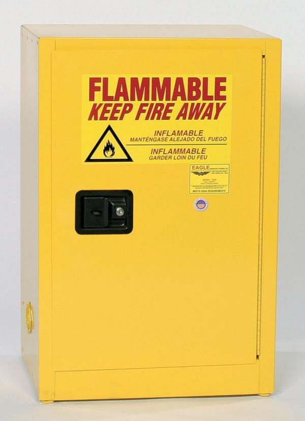Safety Storage Cabinets Flammable Liquids Space Saver 16 Gal. Yellow One Door Manual One Shelf