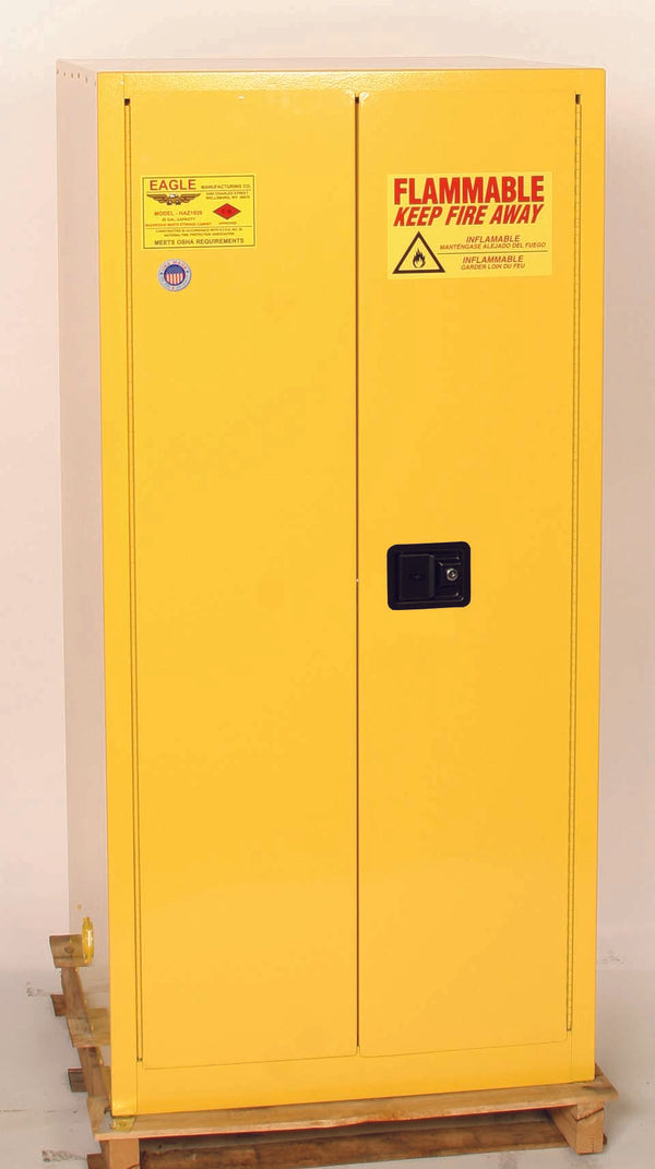 Safety Storage Cabinets Drum Storage 2-Vertical Drums 55 Gal. (Yellow) Two Door Manual Vertical Drum