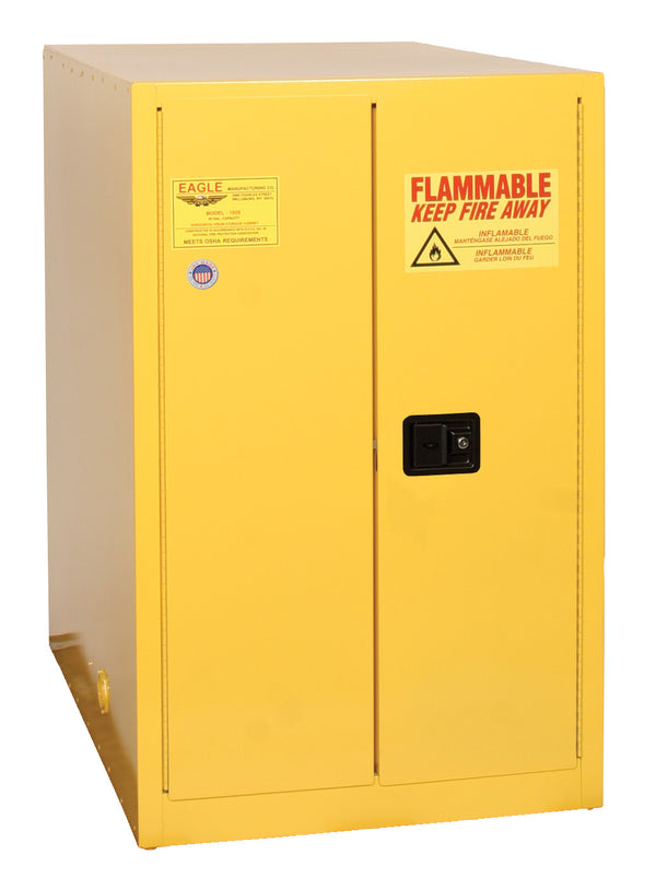 Safety Storage Cabinets Drum Storage 2-Vertical Drums 55 Gal. (Yellow) Two Door Manual Horizontal Drum