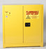 Safety Cabinets w/ Safety Can Combo Two Door Manual One Shelf w/ 6 ea. UI-50-FS Safety Cans (Yellow)