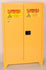 "Safety Storage Cabinets Flammable Liquids Tower  45 Gal. Yellow Two Door Manual Close w/4"" Legs Two Shelves"