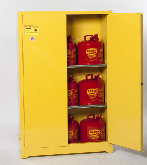 Safety Storage Cabinets Flammable Liquids Standard 45 Gal. Yellow Two Door Manual Two Shelves