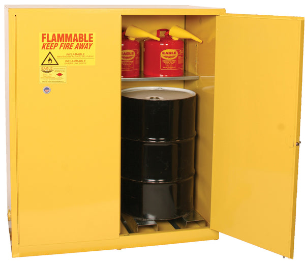 Safety Storage Cabinets Hazardous Drums 2-55 GAL Vertical Drum 110 Gal. Yellow Two Door Manual Two Vertical Drums, 1-shelf