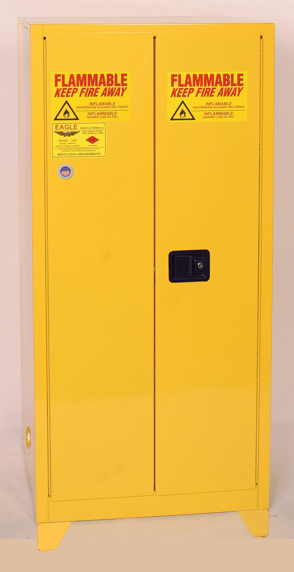 "Safety Storage Cabinets Flammable Liquids Tower  60 Gal. Yellow Two Door Manual Close w/4"" Legs Two Shelves"