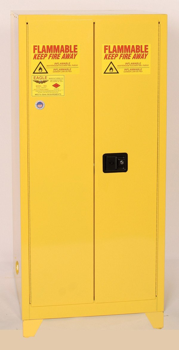 "Safety Storage Cabinets Flammable Liquids Tower  16 Gal. Yellow One Door Manual Close w/4"" Legs One Shelf"