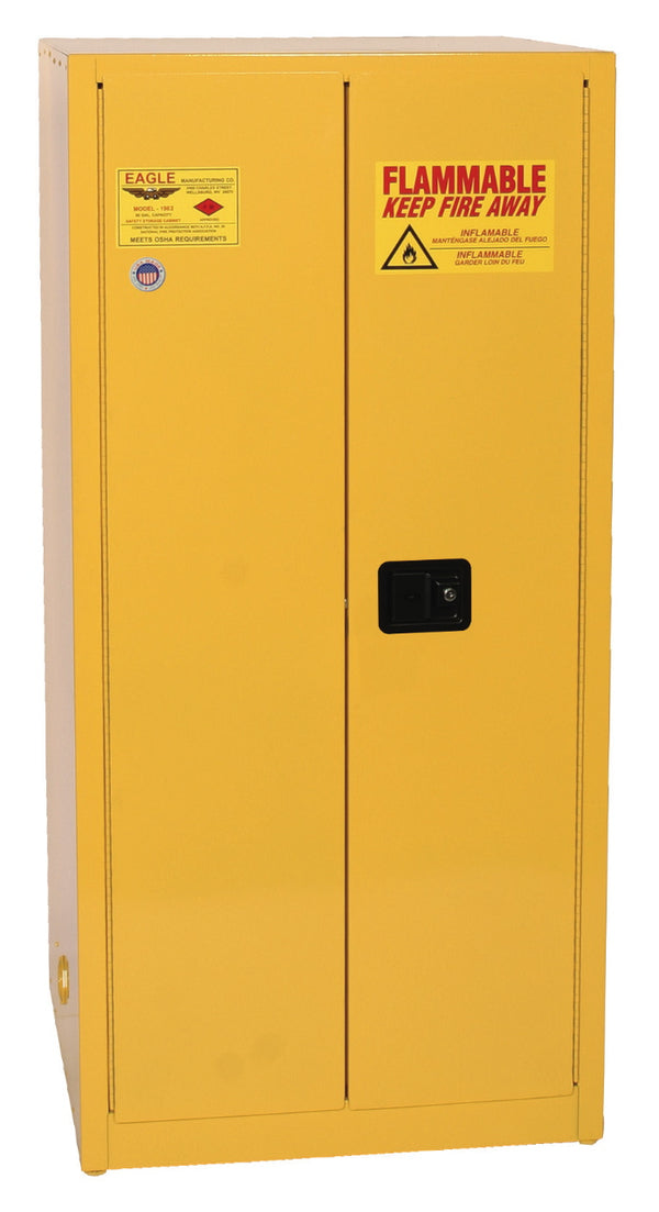 Safety Storage Cabinets Flammable Liquids Standard 60 Gal. Yellow Two Door Manual Two Shelves