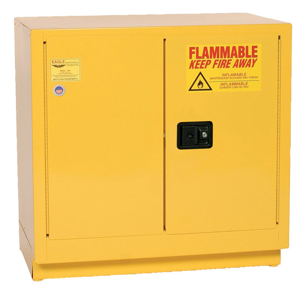 Safety Storage Cabinets Flammable Liquids Under-Counter 22 Gal. Yellow Two Door Self-Closing One Shelf