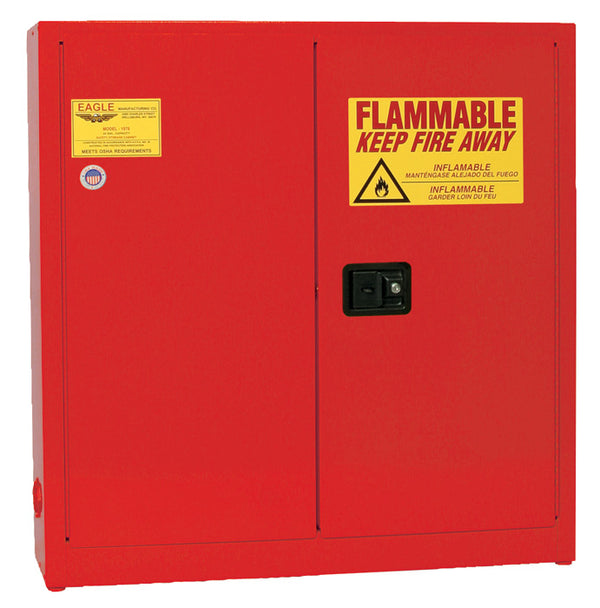 Flammable Liquid Storage Cabinets - (RED) Two Door Manual Three Shelves 24 gal