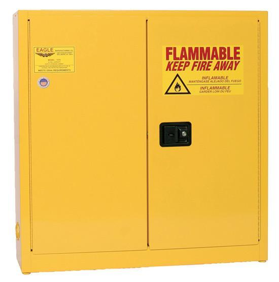 Safety Storage Cabinets Flammable Liquids Standard 45 Gal. Yellow One Door Self-Closing Two Shelves