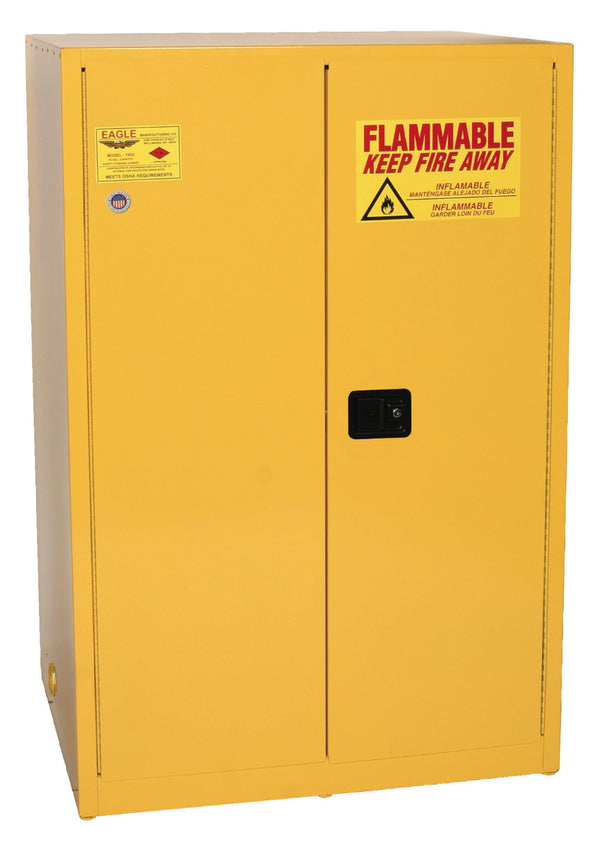 Safety Storage Cabinets Flammable Liquids Standard 90 Gal. Yellow Two Door Manual Close Two Shelves