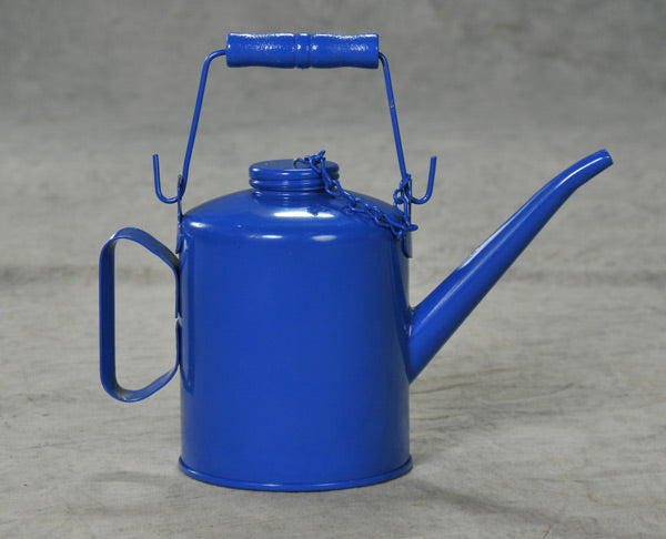 TALLOW POTS & LIFT OIL DRAIN OILERS Blue Steel w/Top Handle & Top Cap Chain 4 Pint Blue