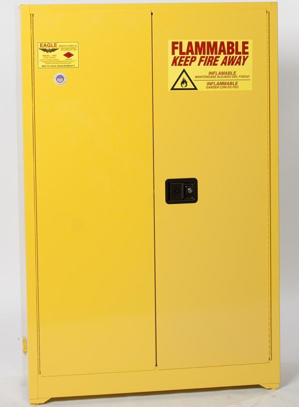 Safety Storage Cabinets Flammable Liquids Workbench 60 Gal. Yellow Workbench Cabinet Manual Close One Shelf