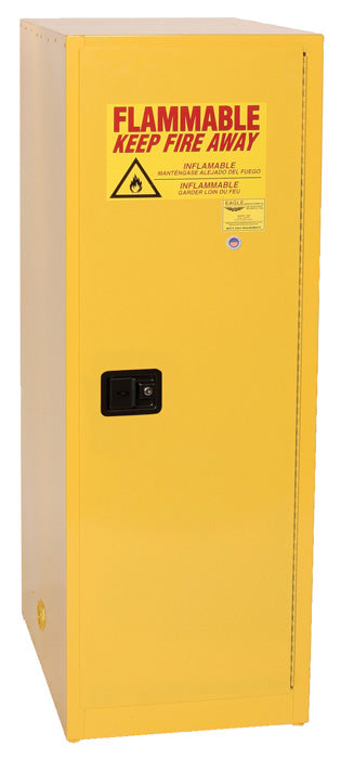 Safety Storage Cabinets Flammable Liquids Space Saver 24 Gal. Yellow One Door Manual Three Shelves