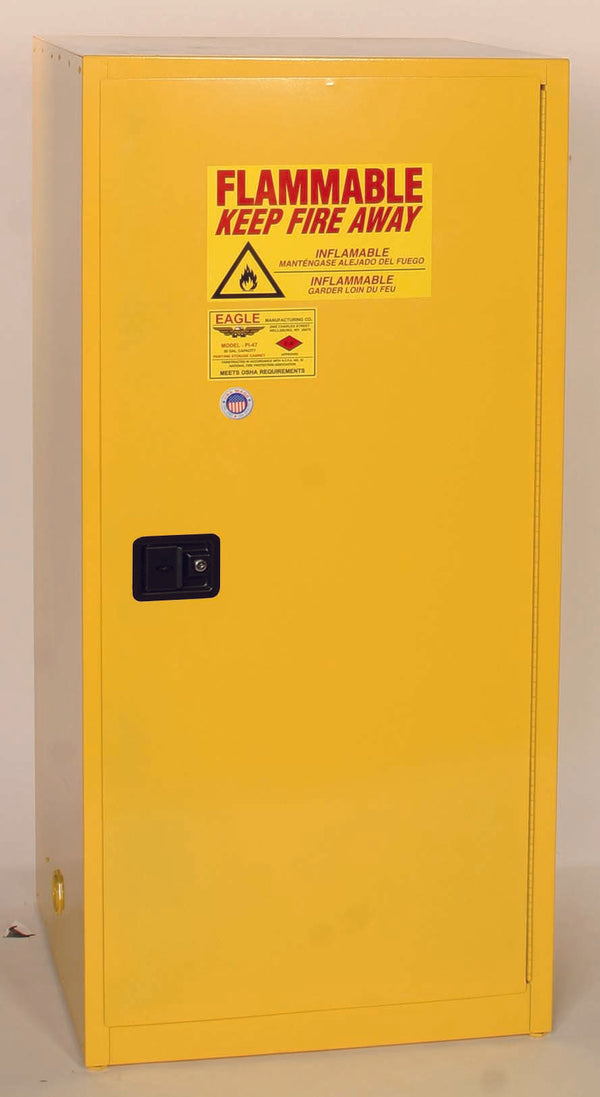 Safety Storage Cabinets Flammable Liquids Standard 60 Gal. Yellow One Door Cabinet Manual Close Two Shelves