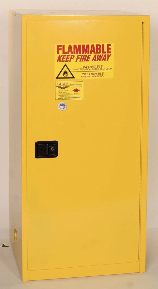 Safety Storage Cabinets Flammable Liquids Wall-Mount 24 Gal. Yellow Two Door Manual Three Shelves