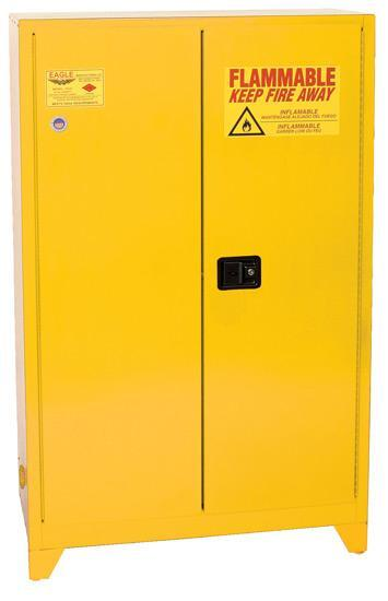 "Safety Storage Cabinets Flammable Liquids Tower  30 Gal. Yellow Two Door Manual Close w/4"" Legs One Shelf"