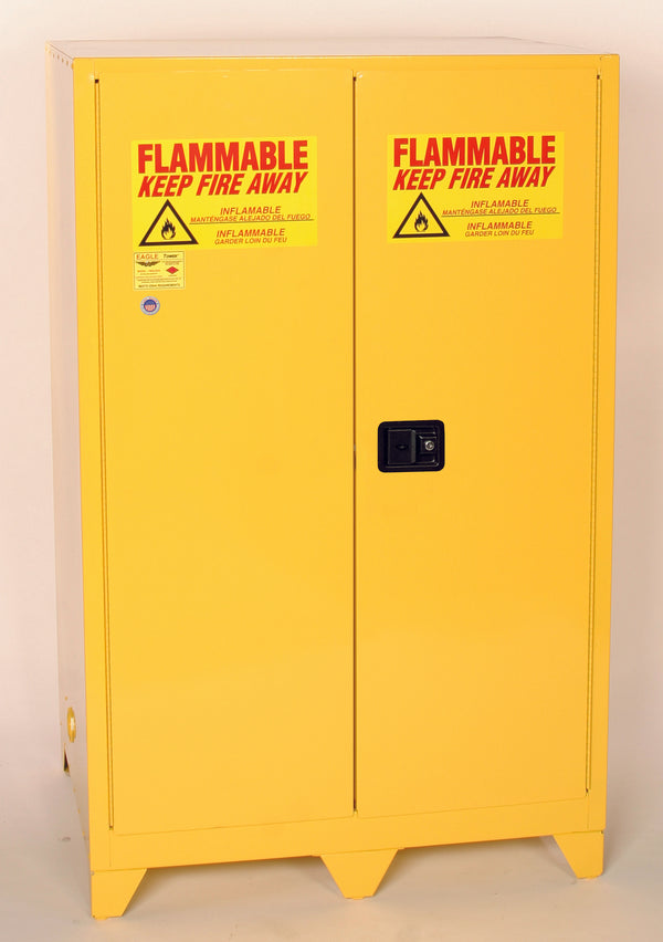"Safety Storage Cabinets Flammable Liquids Tower  90 Gal. Yellow Two Door Manual Close w/4"" Legs Two Shelves"