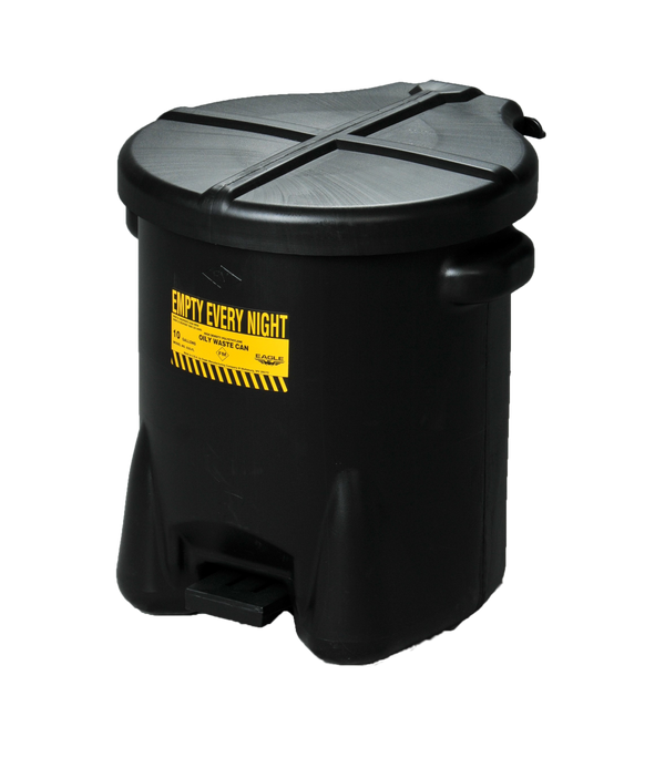 SAFETY OILY WASTE CANS OILY WASTE CANS Polyethylene - Black w/Foot Lever 6 gal Black