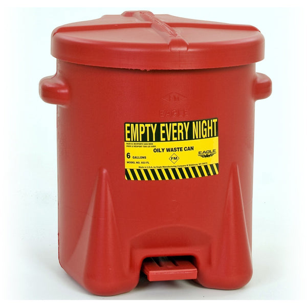 Oily Waste Cans - 6 Gal. Polyethylene - Red w/Foot Lever - Safety Cans