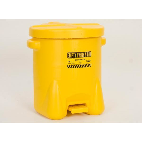 Oily Waste Cans - 14 Gal. Polyethylene - Yellow w/Foot Lever - Safety Cans