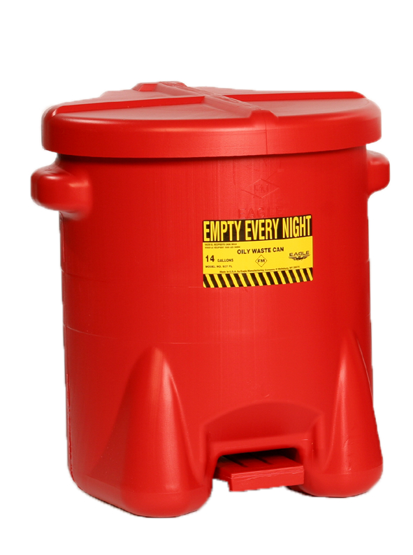 Oily Waste Cans- 14 Gal. Polyethylene - Red w/Foot Lever - Safety Cans