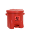 Bio-hazardous Waste Cans  - 10 Gal. Polyethylene - Red w/Foot Lever - Safety Cans