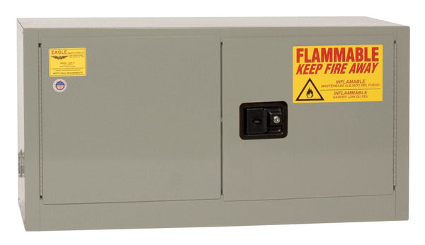 Flammable Liquid Storage Cabinets - (Gray) Two Door Self-Closing (Optional Shelf) 15 gal