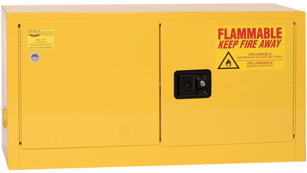 Safety Storage Cabinets Flammable Liquids ADD-ON 15 Gal. (Yellow) Two Door Manual (Optional Shelf)