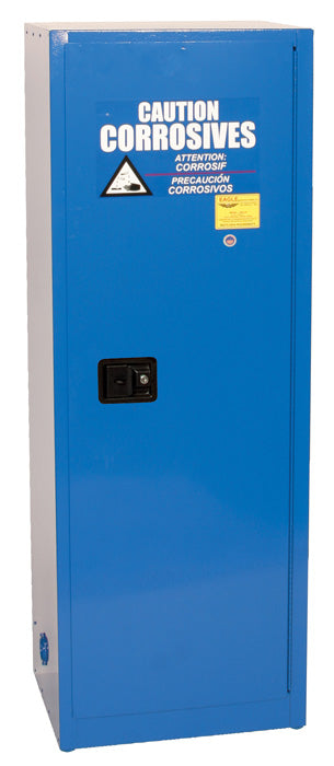Safety Storage Cabinets Acid/Corrosive Space Saver 24 Gal. (Blue) One Door Self-Closing Three Shelves