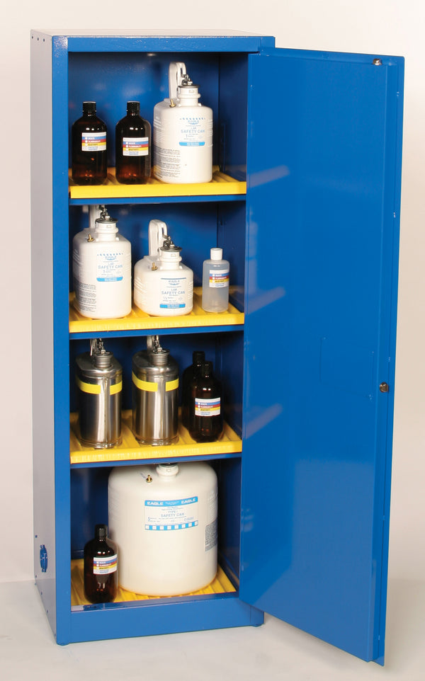 Safety Storage Cabinets Acid/Corrosive Space Saver 24 Gal. (Blue) One Door Manual Closing Three Shelves