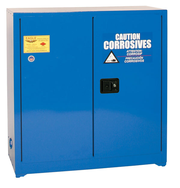 Safety Storage Cabinets Acid/Corrosive Space Saver 30 Gal. (Blue) Two Door Manual One Shelf