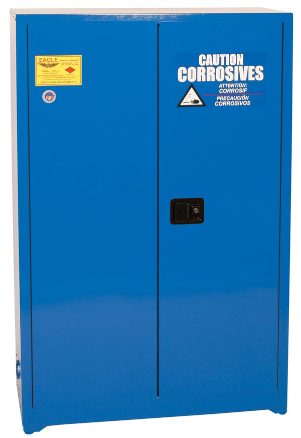 Safety Storage Cabinets Acid/Corrosive Space Saver 45 Gal. (Blue) Two Door Self-Closing Two Shelves