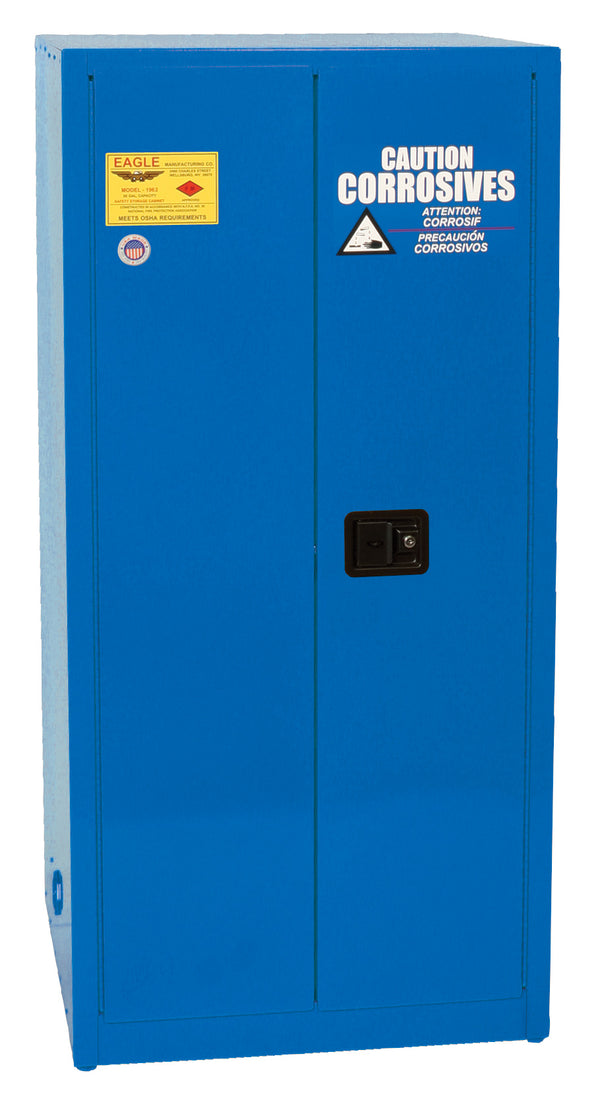 Safety Storage Cabinets Acid/Corrosive Standard 60 Gal. (Blue) Two Door Manual Two Shelves