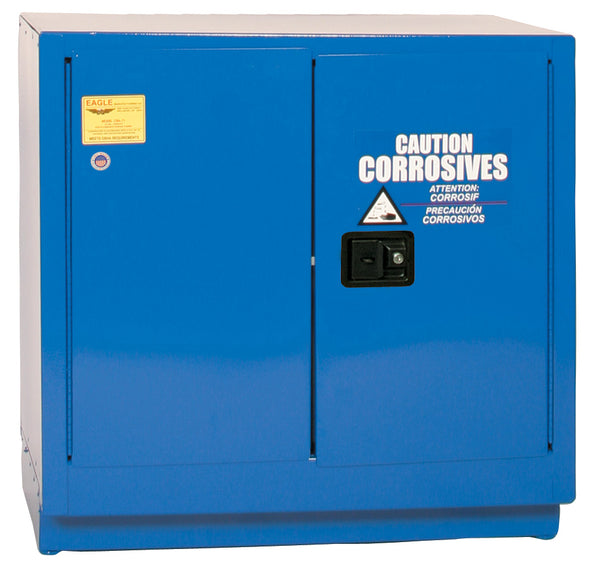 Safety Storage Cabinets Acid/Corrosive Under-Counter 22 Gal. (Blue)  Two Door Self-Closing One Shelf