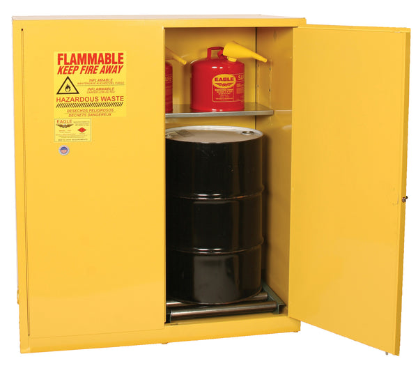 Safety Storage Cabinets Hazardous Drums 2-55 GAL Vertical Drum 110 Gal. Yellow Two Door Self-Closing, Two Vertical Drums, 1-shelf