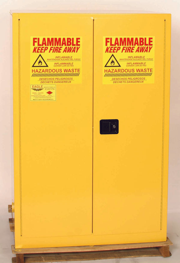 Safety Storage Cabinets Hazardous Drums 2-30 GAL Vertical Drum 90 Gal. Yellow 2-Dr Self-Close 2-30 Gal Vert Drums, 1-shelf