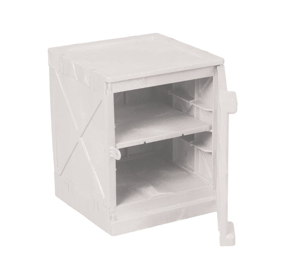 Polyethylene Quick Assembly Acid/Corrosive Safety Storage Cabinets Poly Cabinet Bench Top 1 Door, 2 Shelves, (White), 4 gal