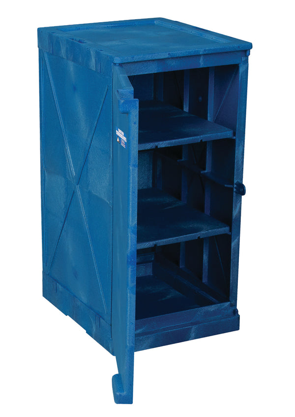 Polyethylene Quick Assembly Acid/Corrosive Safety Storage Cabinets Poly Cabinet Modular 1 Door-2 Shelves, (Blue), 12 gal