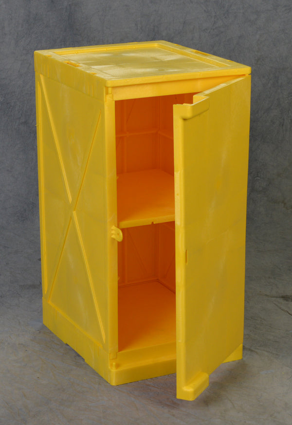 Polyethylene Quick Assembly Acid/Corrosive Safety Storage Cabinets Poly Cabinet Modular 1 Door-2 Shelves, (Yellow), 12 gal