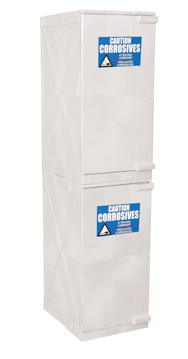 Polyethylene Quick Assembly Acid/Corrosive Safety Storage Cabinets Poly Cabinet Under Counter Modular 2 Doors-4 Shelves, (White), 24 gal