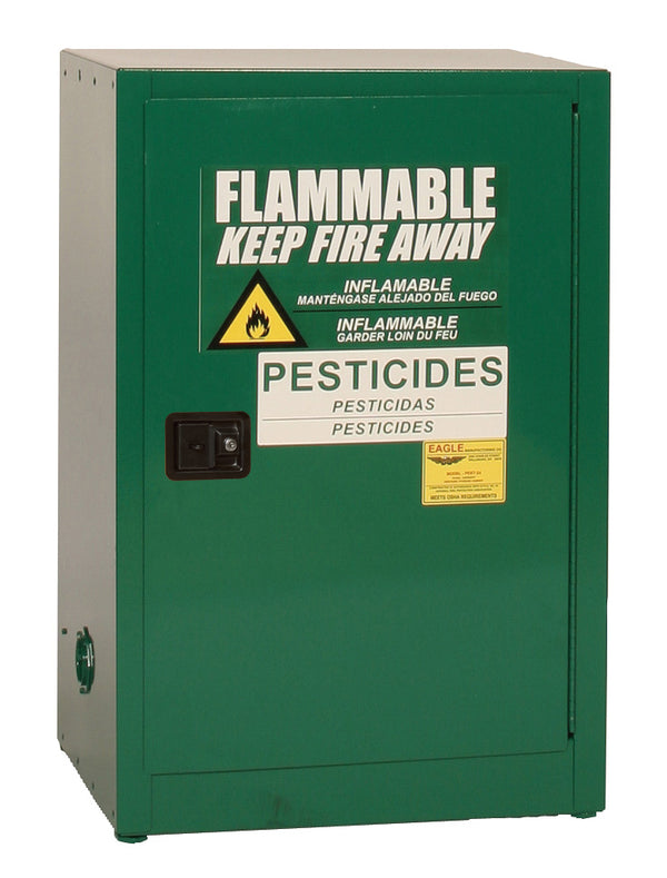Safety Storage Cabinets Pesticide/Poisons Space Saver 12 Gal. Green One Door Self-Closing One Shelf