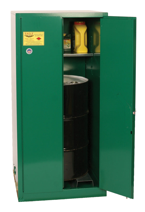 Safety Storage Cabinets Pesticide/Poisons Vertical Drum 55 Gal. Green 2-Dr Self-Close Vert Drum w/rollers & 1-Shelf