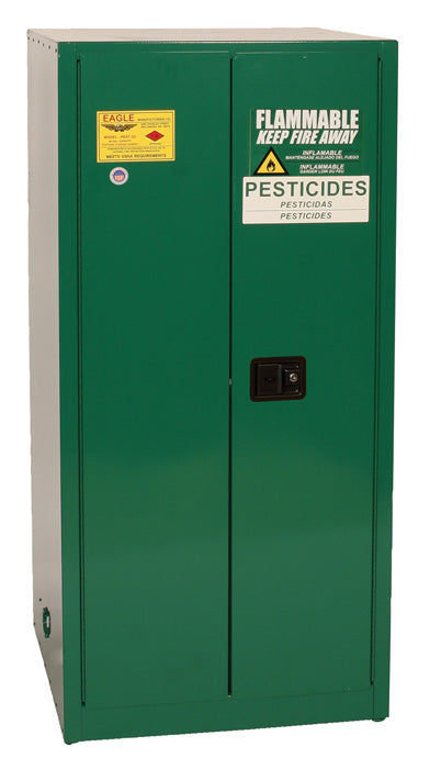 Safety Storage Cabinets Pesticide/Poisons Standard 60 Gal. Green Two Doors Self-Closing Two Shelves