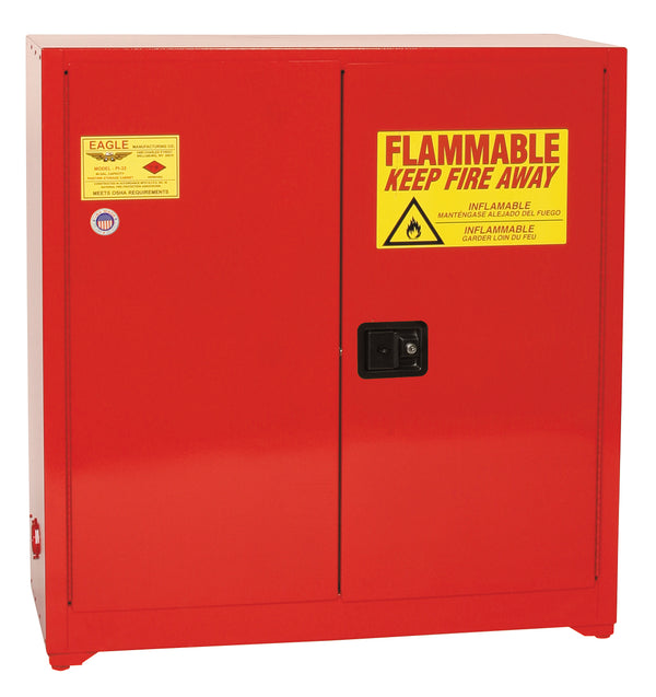 Safety Storage Cabinets Paint/Ink Standard 40 Gal. Red Two Door Self-Closing Three Shelves