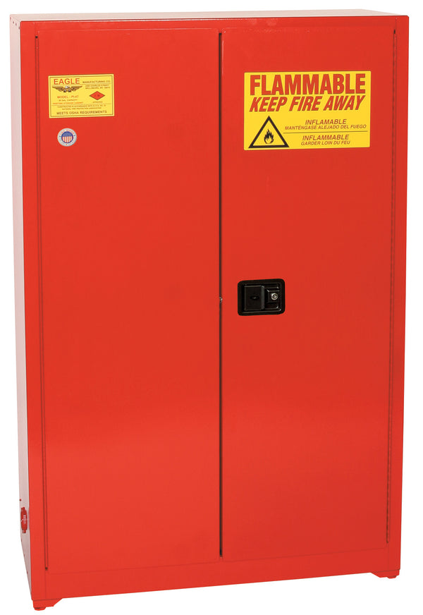 Safety Storage Cabinets Paint/Ink Standard 60 Gal. Red Two Door Self-Closing Five Shelves