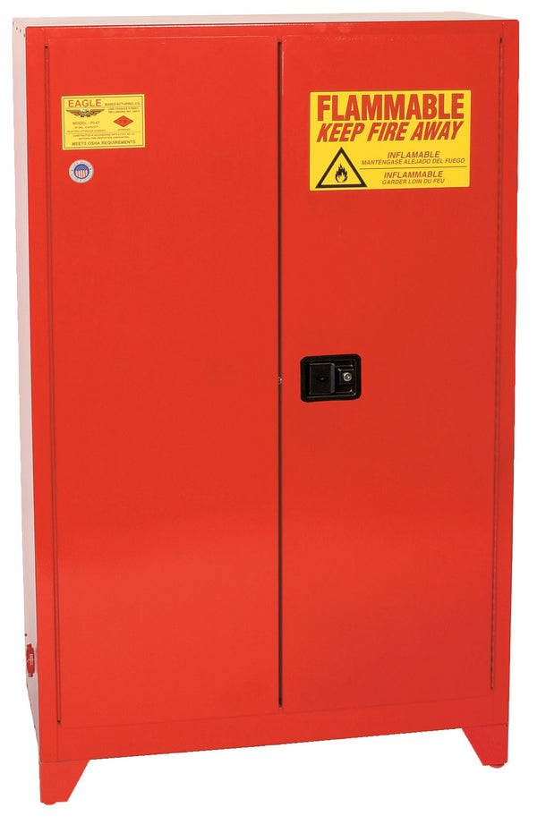 Safety Storage Cabinets Paint/Ink Tower 60 Gal. Red Two Door Manual Close Five Shelves