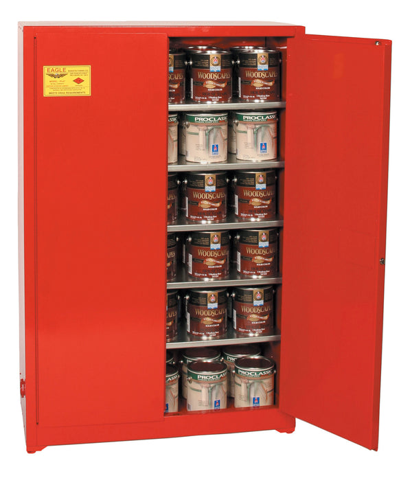 Safety Storage Cabinets Paint/Ink Standard 60 Gal. Red Two Door Manual Five Shelves