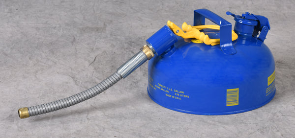 "TYPE II SAFETY CANS - GALVANIZED STEEL TYPE II SAFETY CANS Blue - w/5/8"" O.D. Flex Spout 1 gal Blue"
