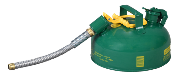 "TYPE II SAFETY CANS - GALVANIZED STEEL - 1 Gal. Green - w/5/8"" O.D. Flex Spout"